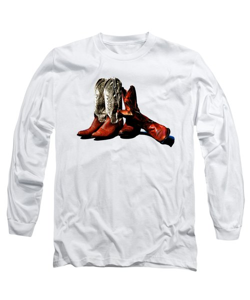 Boot Friends Cowboy Boot T Shirt Art Long Sleeve T-Shirt by Lesa Fine