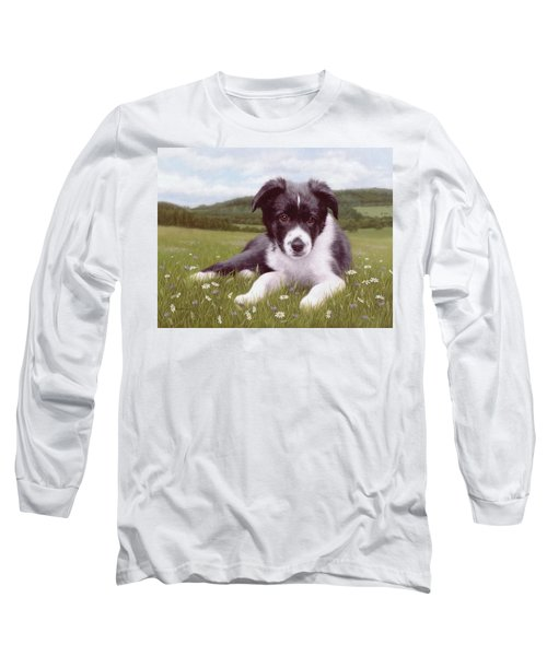 Border Collie Puppy Painting Long Sleeve T-Shirt by Rachel Stribbling
