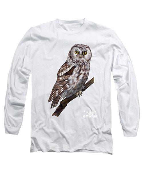 Boreal Owl Tengmalm's Owl Aegolius Funereus - Nyctale De Tengmalm - Paerluggla - Nationalpark Eifel Long Sleeve T-Shirt