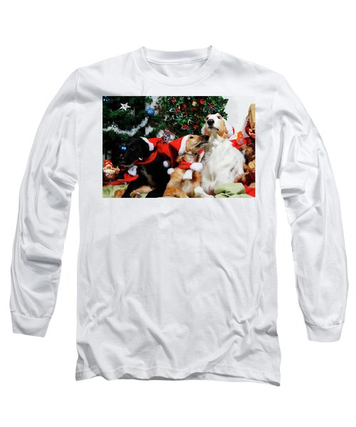 Borzoi Hounds Dressed As Father Christmas Long Sleeve T-Shirt by Christian Lagereek
