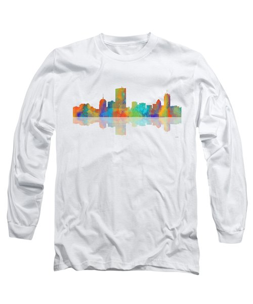 Boston Ma. Skyline Long Sleeve T-Shirt by Marlene Watson