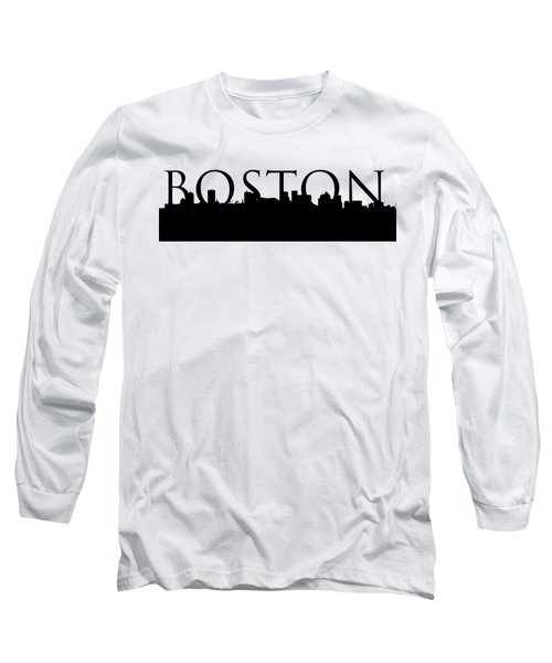 Boston Skyline Outline With Logo Long Sleeve T-Shirt by Joann Vitali