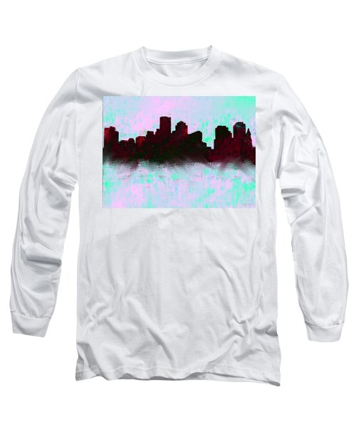 Boston Skyline Sky Blue  Long Sleeve T-Shirt by Enki Art