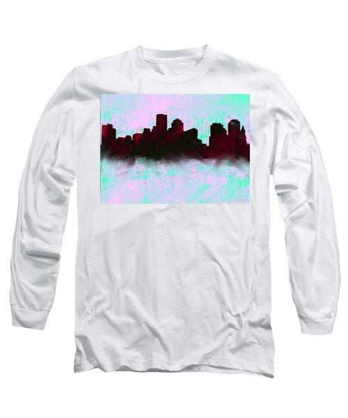 Boston Skyline Sky Blue  Long Sleeve T-Shirt by Enki Art