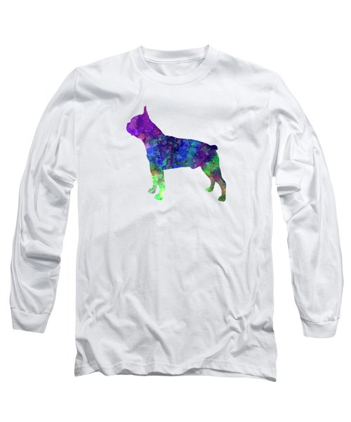 Boston Terrier 02 In Watercolor Long Sleeve T-Shirt by Pablo Romero