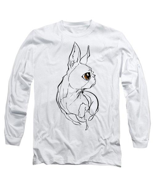 Boston Terrier Gesture Sketch Long Sleeve T-Shirt