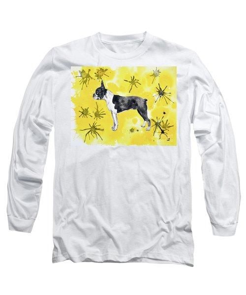 Long Sleeve T-Shirt featuring the painting Boston Terrier On Yellow by Zaira Dzhaubaeva