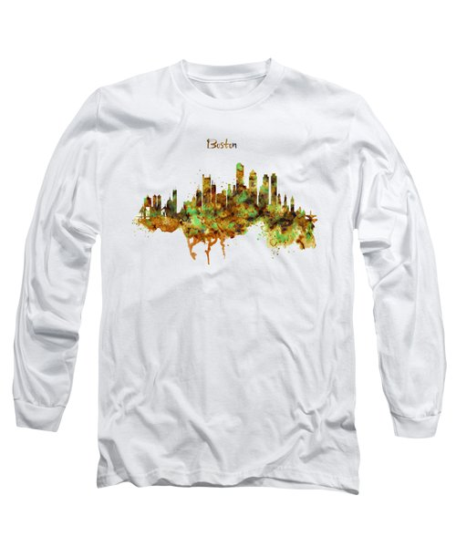 Boston Watercolor Skyline Long Sleeve T-Shirt by Marian Voicu