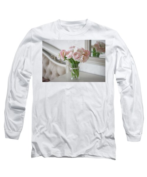 Bouquet Of Delicate Ranunculus And Tulips In Interior Long Sleeve T-Shirt