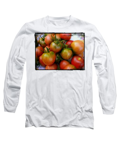 Bowl Of Heirloom Tomatoes Long Sleeve T-Shirt by Kathy Barney