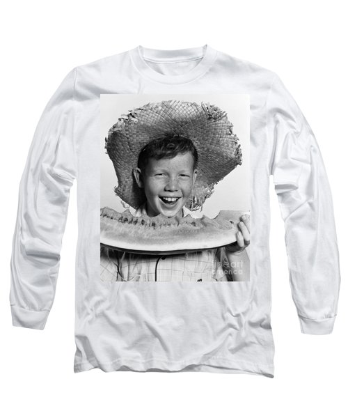 Boy Eating Watermelon, C.1940-50s Long Sleeve T-Shirt by H. Armstrong Roberts/ClassicStock