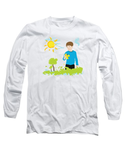 Boy Painting Summer Scene Long Sleeve T-Shirt