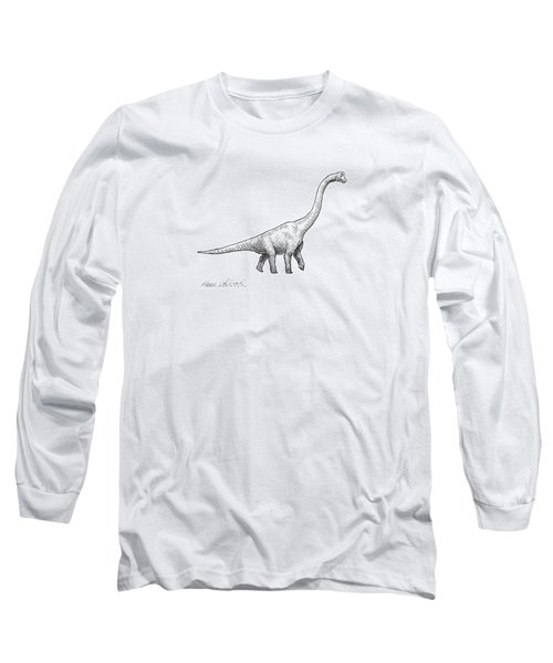 Long Sleeve T-Shirt featuring the drawing Brachiosaurus Black And White Dinosaur Drawing  by Karen Whitworth