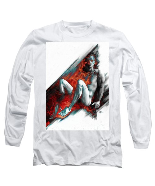 Long Sleeve T-Shirt featuring the drawing Bradley With Mood Texture by Paul Davenport