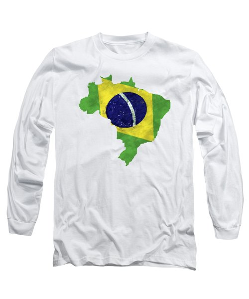 Brazil Map Art With Flag Design Long Sleeve T-Shirt by World Art Prints And Designs