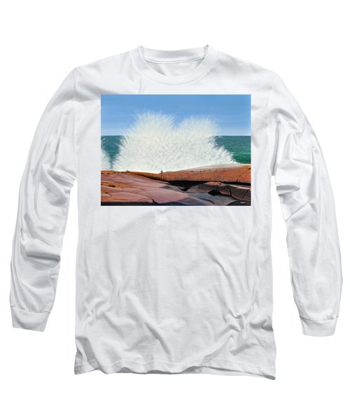 Long Sleeve T-Shirt featuring the painting Breakers On Georgian Bay by Kenneth M  Kirsch