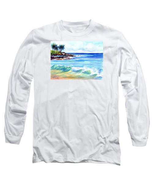 Long Sleeve T-Shirt featuring the painting Brennecke's Beach by Marionette Taboniar