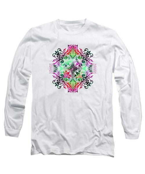 Long Sleeve T-Shirt featuring the painting Bright Pattern Art - Color Fusion Design 9 By Sharon Cummings by Sharon Cummings
