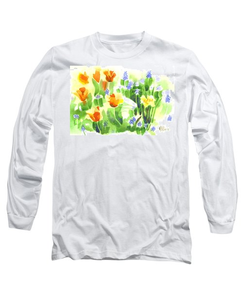 Long Sleeve T-Shirt featuring the painting Brightly April Flowers by Kip DeVore