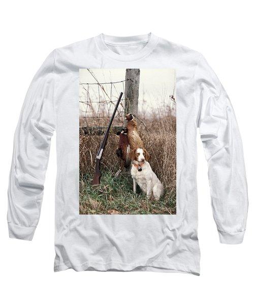 Brittany And Pheasants - Fs000757b Long Sleeve T-Shirt