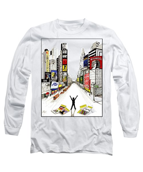 Long Sleeve T-Shirt featuring the drawing Broadway Dreamin' by Marilyn Smith