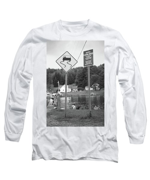 Long Sleeve T-Shirt featuring the photograph Brookfield, Vt - Floating Bridge 2 Bw by Frank Romeo