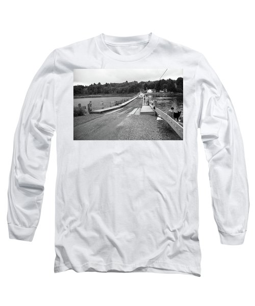 Long Sleeve T-Shirt featuring the photograph Brookfield, Vt - Floating Bridge 5 Bw by Frank Romeo