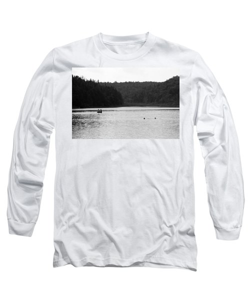Long Sleeve T-Shirt featuring the photograph Brookfield, Vt - Swimming Hole 2006 Bw by Frank Romeo