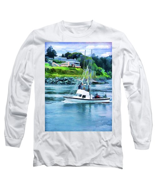 Brookings Boat Oil Painting Long Sleeve T-Shirt by Wendy McKennon
