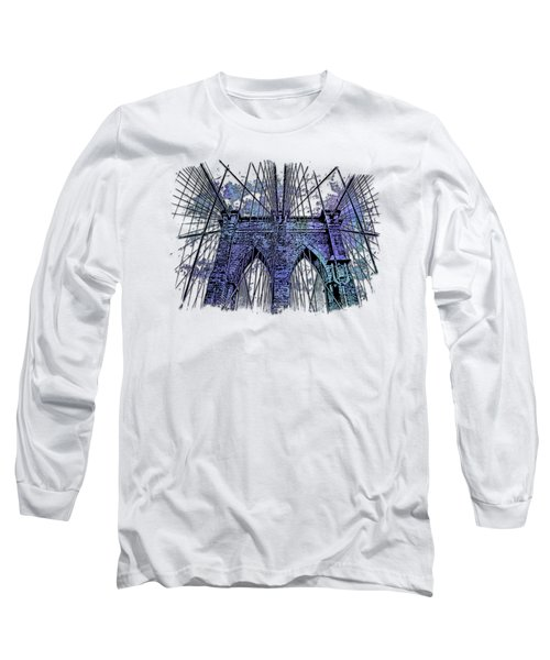 Brooklyn Bridge Berry Blues 3 Dimensional Long Sleeve T-Shirt by Di Designs