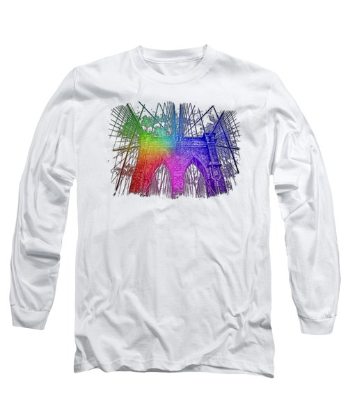 Brooklyn Bridge Cool Rainbow 3 Dimensional Long Sleeve T-Shirt by Di Designs
