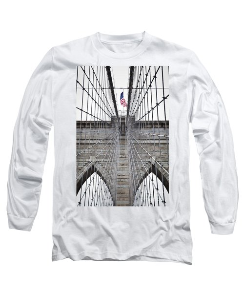 Long Sleeve T-Shirt featuring the photograph Brooklyn Bridge Flag by Peter Simmons