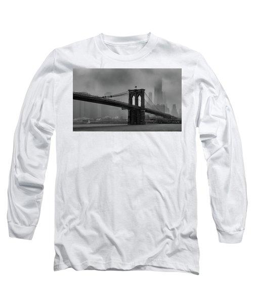 Brooklyn Bridge In A Storm 2 Long Sleeve T-Shirt