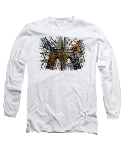 Brooklyn Bridge Muted Rainbow 3 Dimensional Long Sleeve T-Shirt by Di Designs
