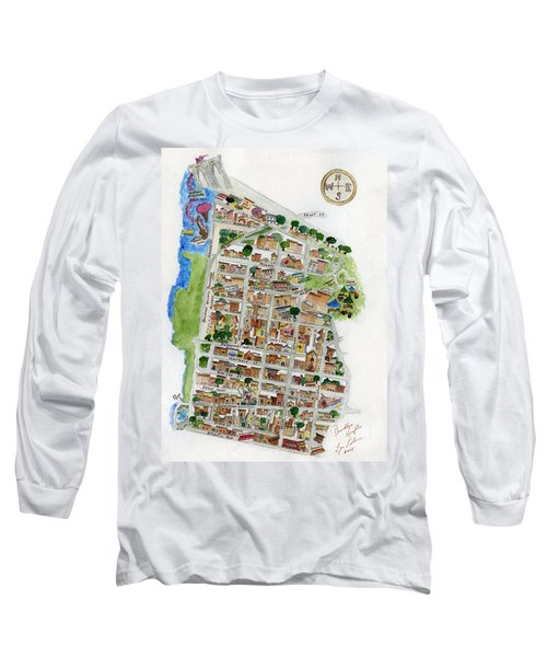 Brooklyn Heights Map Long Sleeve T-Shirt by AFineLyne
