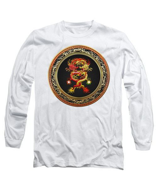 Brotherhood Of The Snake - The Red And The Yellow Dragons On White Leather Long Sleeve T-Shirt