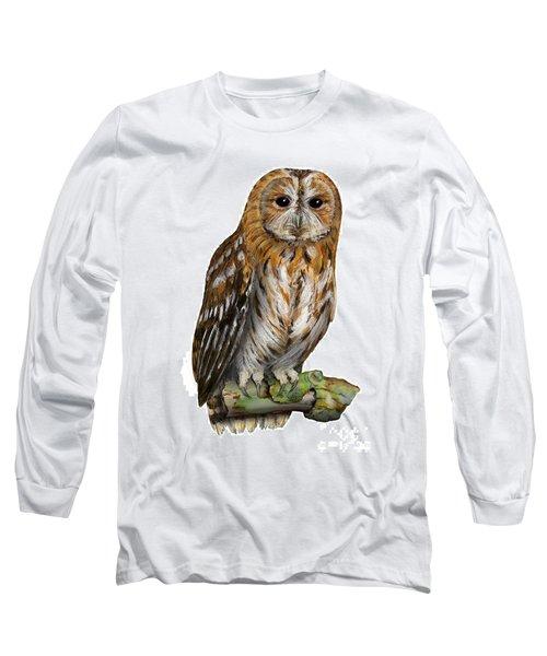 Brown Owl Or Eurasian Tawny Owl  Strix Aluco - Chouette Hulotte - Carabo Comun -  Nationalpark Eifel Long Sleeve T-Shirt