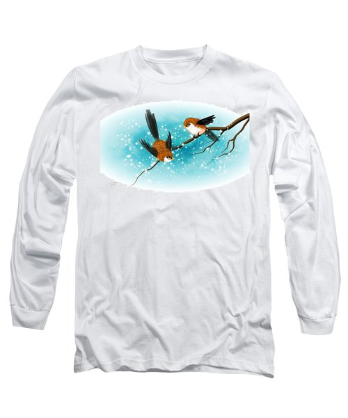 Brown Swallows In Winter Long Sleeve T-Shirt by John Wills