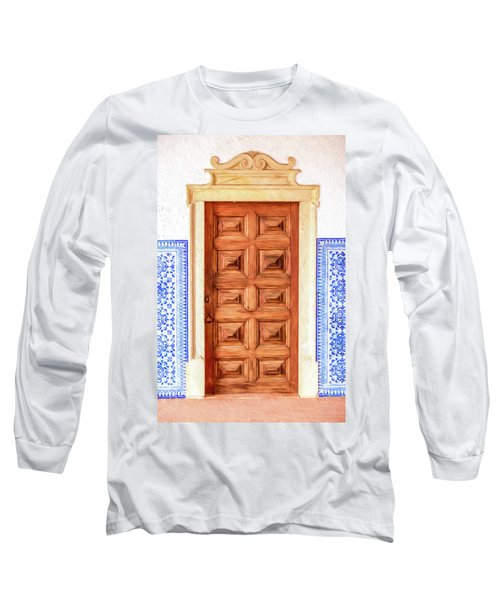Brown Wood Door Of Old World Europe Long Sleeve T-Shirt
