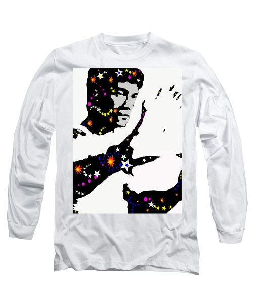 Long Sleeve T-Shirt featuring the drawing Bruce Lee Moving His Hands by Robert Margetts