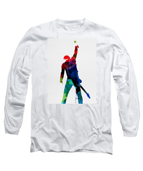 Bruce Watercolor Long Sleeve T-Shirt by Naxart Studio