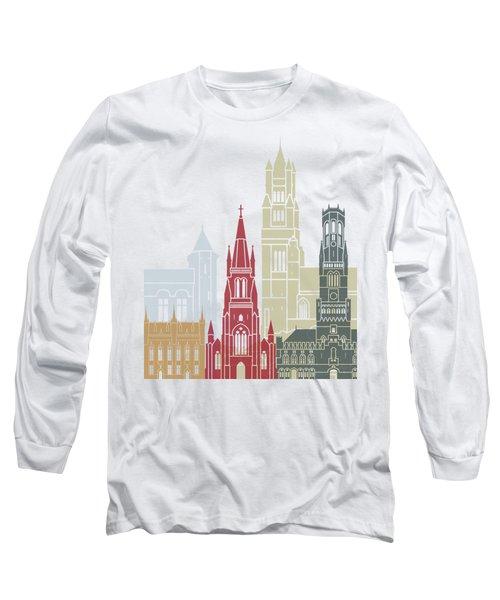 Bruges Skyline Poster Long Sleeve T-Shirt
