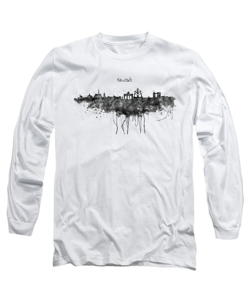 Brussels Black And White Skyline Silhouette Long Sleeve T-Shirt