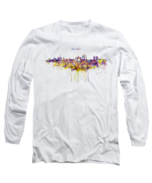 Brussels Skyline Silhouette Long Sleeve T-Shirt by Marian Voicu