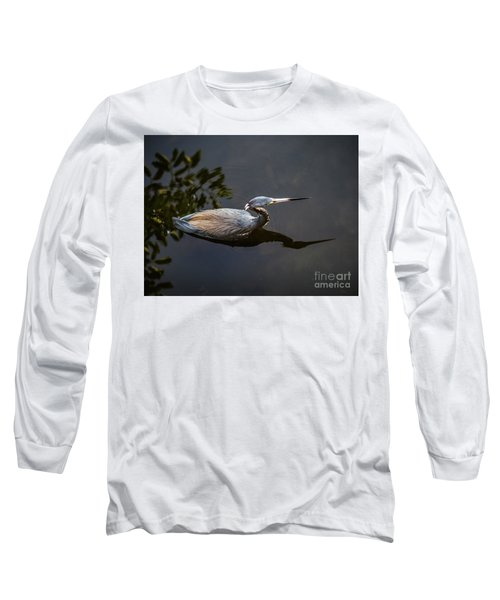 Bubbles And A Blue Heron Long Sleeve T-Shirt