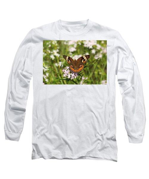Buckeye Butterfly Posing Long Sleeve T-Shirt