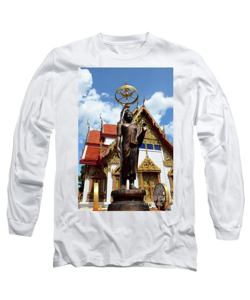 Buddha Statue With Sunshade Outside Temple Hat Yai Thailand Long Sleeve T-Shirt