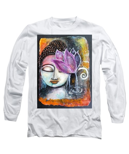 Long Sleeve T-Shirt featuring the mixed media Buddha With Torn Edge Paper Look by Prerna Poojara