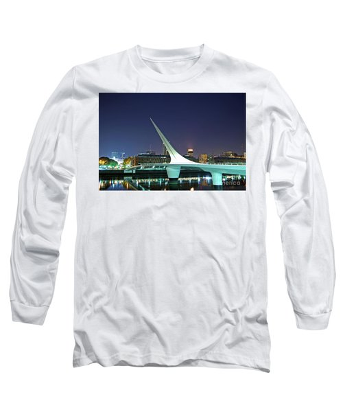 Buenos Aires - Argentina - Puente De La Mujer At Night Long Sleeve T-Shirt