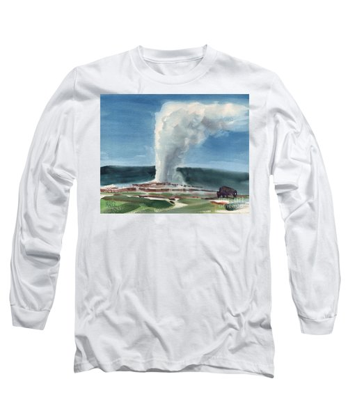 Buffalo And Geyser Long Sleeve T-Shirt by Donald Maier